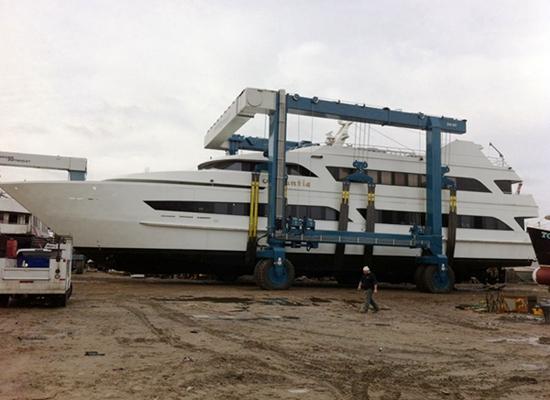 Grúa marítima móvil para barcos
