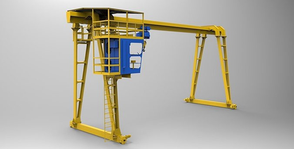Single Girder Gantry Crane 3D Drawing